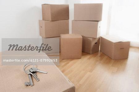 House Key on cardboard box in a room, Bavaria, Germany