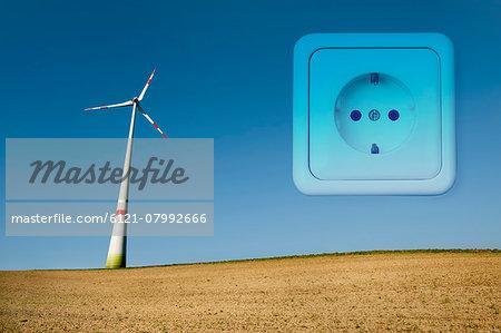 Wind turbine in field, Bavaria, Germany