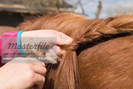 Woman's hands making braids of horse hair, Bavaria, Germany