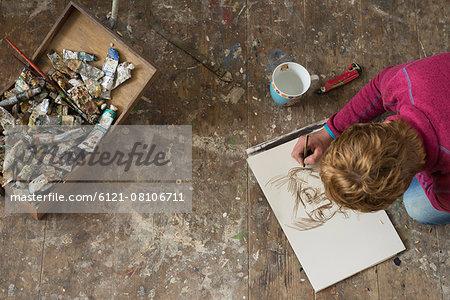 Female artist making sketch in art studio, Bavaria, Germany
