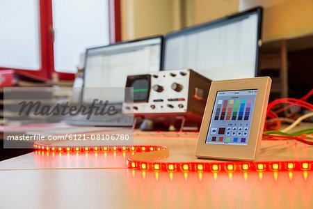 Installed and programmed led lights illuminating on table, Munich, Bavaria, Germany