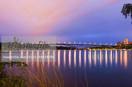 Arch bridge at waterfront, Västerbron, Stockholm, Sweden