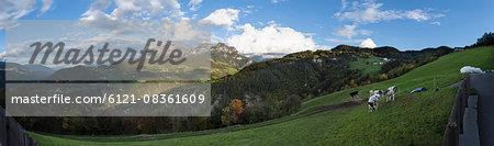 Panoramic view of mountain range, South Tyrol, Dolomites, Italy