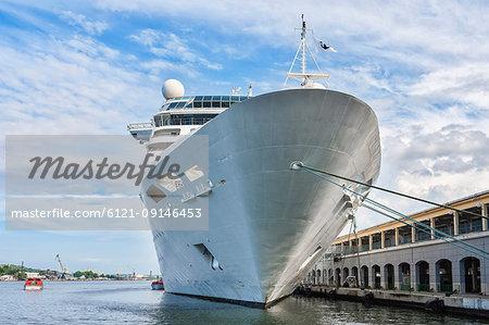 Cruise ship moored at harbor, Havana, Cuba
