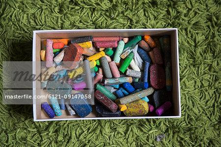 Close-up of a box of chalks, crayons, Munich, Germany