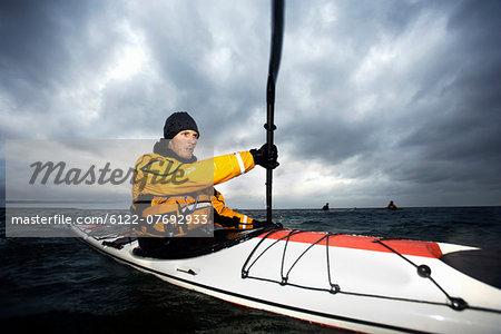 Kayaker at see