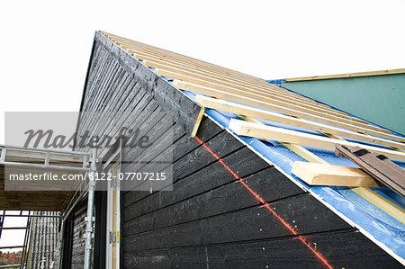 Siding of building under construction