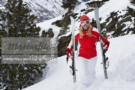 Skier standing on snowy slope