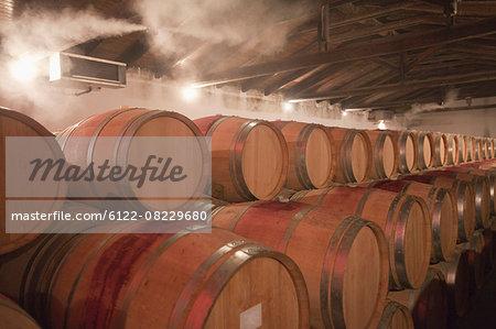 Barrels of wine in cellar