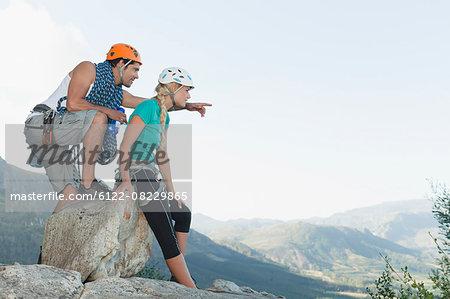 Climbers surveying climb down