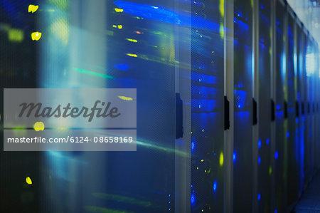 Blurred lights in server room
