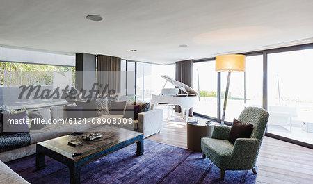 piano in luxury home showcase interior living room stock photo