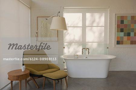 Modern luxury home showcase interior hotel room with soaking tub
