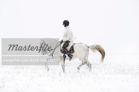 Sweden, Teenage girl (14-15) riding horse