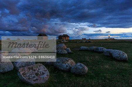 Sweden, Oland, Ottenby, Lichen rocks on grass