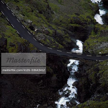Norway, Trollstigen, Elevated road over river in summer