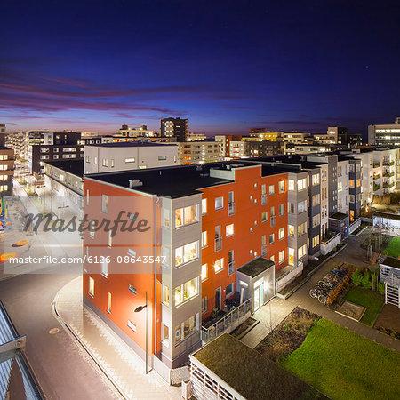 Sweden, Skane, Malmo, Vastra Hamnen, Residential district at night