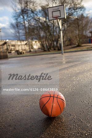 Sweden, Vastergotland, Lerum, Basketball on asphalt