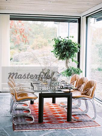 Sweden, Table set in dining room
