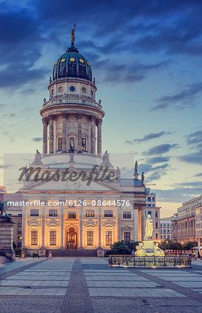 Germany, Berlin, Gendarmenmarkt, Cathedral facade illuminated at dusk