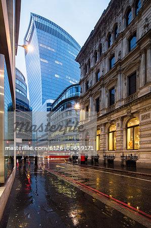 UK, England, London, Lombard Street, Walkie Talkie at night