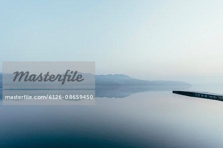 Japan, Izu Peninsula, Mountains reflecting in lake