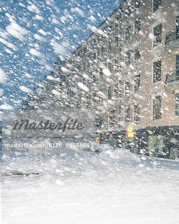 Helsinki, Finland, Ullanlinna district in snowstorm