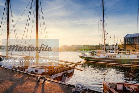 Sailboats in port at Djurgarden in Stockholm