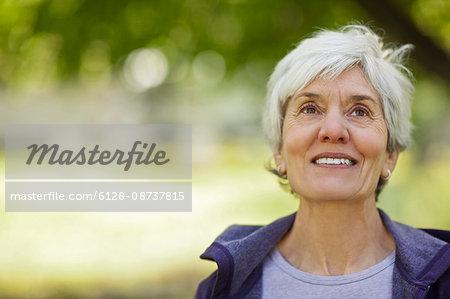 Happy senior woman smiling.