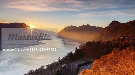 Sunrise on lake Como, Civenna, Como province, Lombardy, Italy, Europe