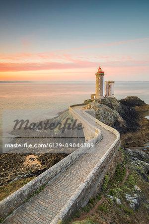 Petit Minou lightouse at sunrise. Plouzané, Finistère, Brittany, France.