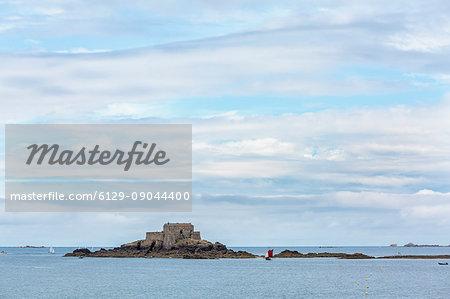 The fortress on Petit Bé isle. Saint-Malo, Ille-et-Vilaine, Brittany, France.