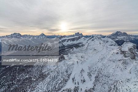 Aerial view of the snowy ridges of the Cinque Torri Dolomites Cortina D'ampezzo Province of Belluno Veneto Italy Europe