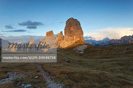 Sunset on Cinque Torri, Dolomites, Cortina d'Ampezzo, Belluno province, Veneto, Italy