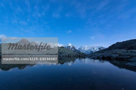 Starry sky on Piz Bernina, Fuorcla Surlej, Corvatsch, canton of Graubünden, Engadine, Switzerland