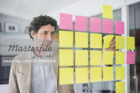 Businessman putting up stickers