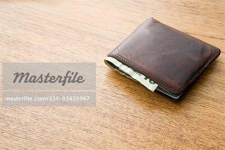 Ten dollar note in a wallet