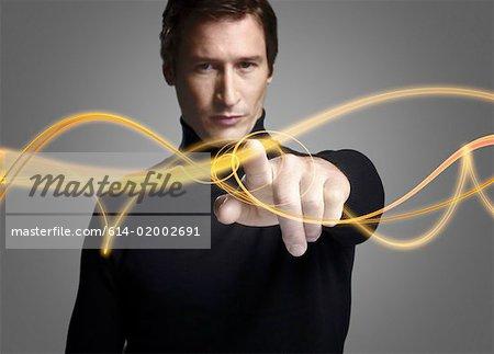 Man touching light