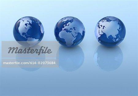 Three globes in a row