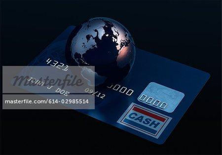 Globe on a credit card