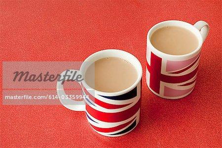Cups of tea in union jack mugs