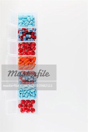 Pills in an organiser