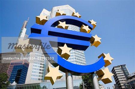 Euro sign outside European Central Bank, Frankfurt, Germany
