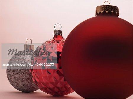 Christmas baubles in studio