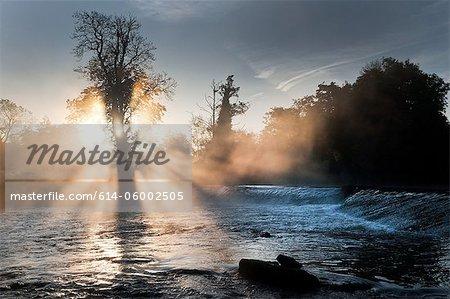 Mulkear river in fog, limerick, ireland