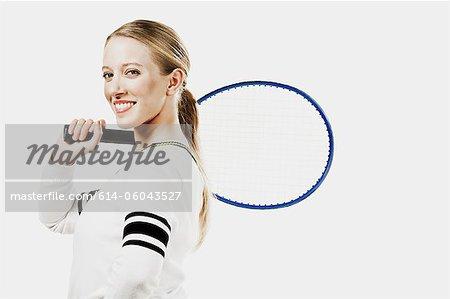 Tennis player holding tennis racket