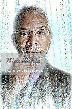 Portrait of pixelated businessman