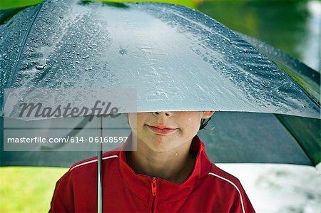 Boy under an umbrella