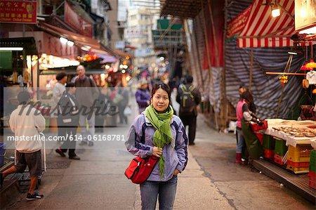 Portrait of woman in market, hong kong, china