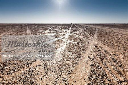 Tracks on beach on island of Djerba, Tunisia